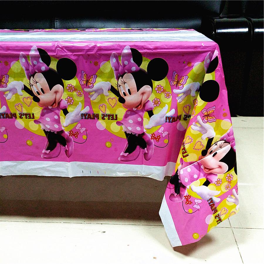 108*180cm Pink Mouse kids <font><b>birthday</b></font> disposable decoration cloth <font><b>party</b></font>