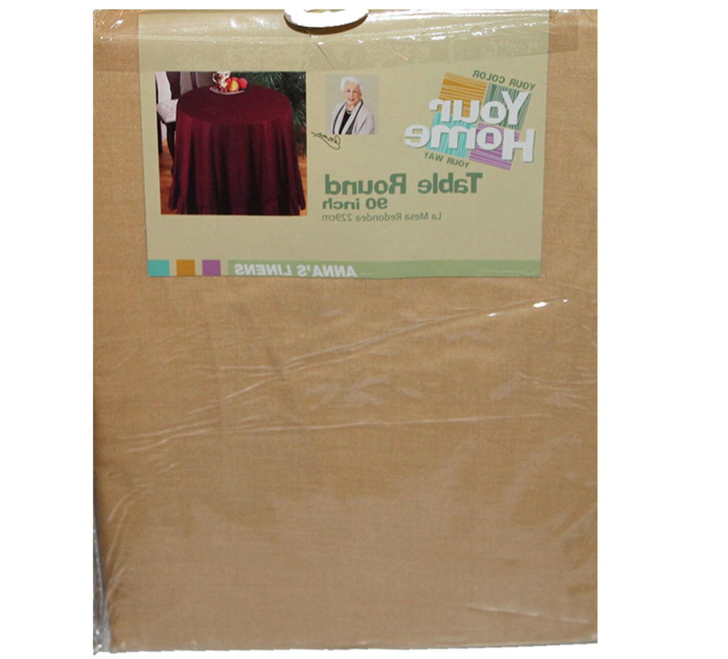 """12 Pack 90"""" Round Table Cover Gold Tablecloths with Ruffled"""