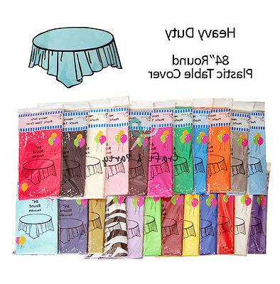 """Plastic Table Covers 84"""" ROUND TABLECLOTH  in 22 colors"""