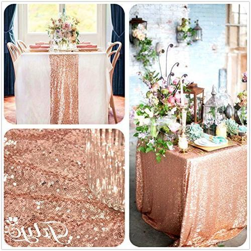 12 108-Inch Royal Sequin Rose Gold