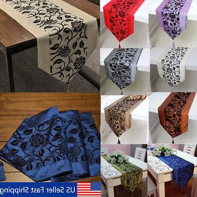 12 x78 flocked damask floral table runner