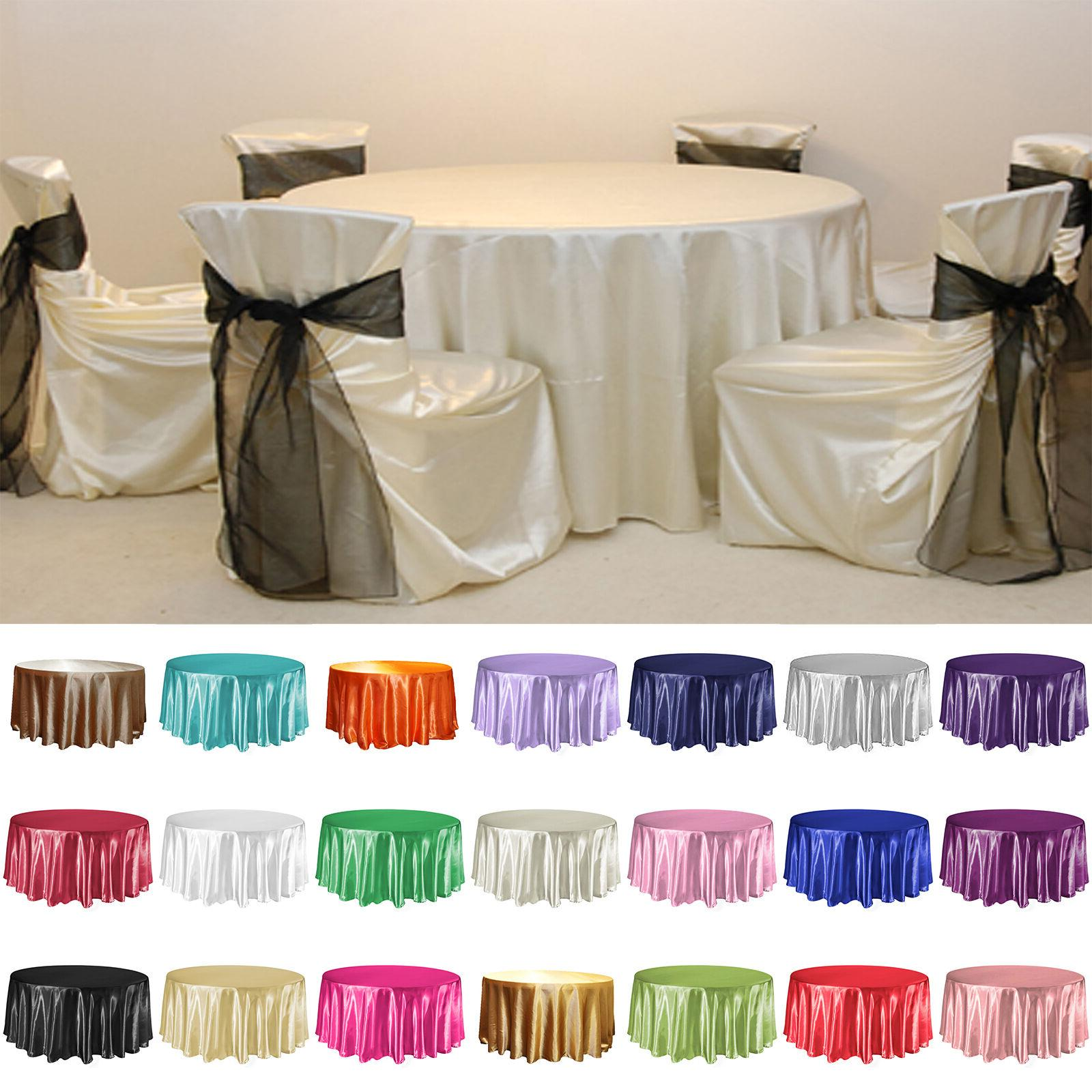 """120"""" Round Satin Tablecloth Table Cover For Wedding Party Re"""