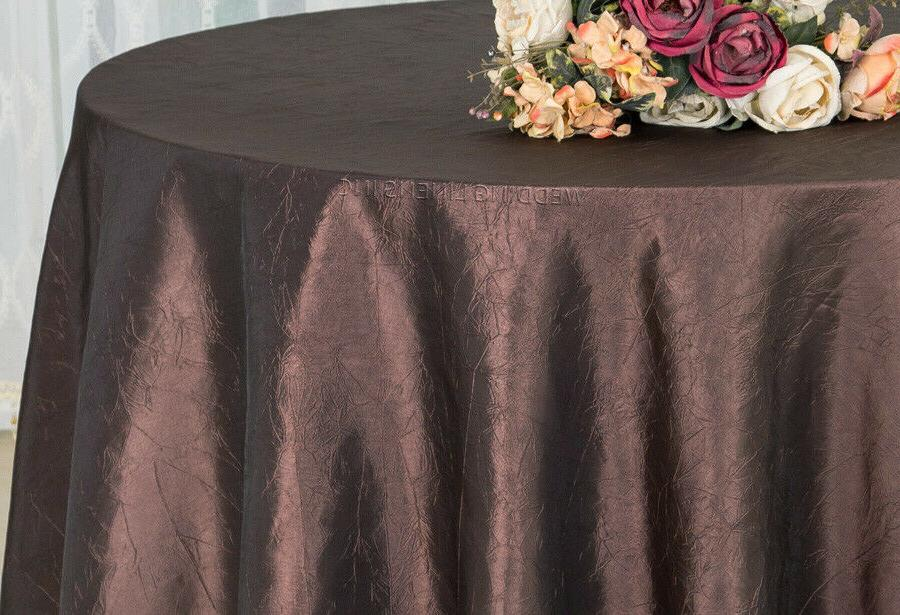 "Wedding Linens Inc. 120"" Taffeta Crinkle Crushed Round Table"
