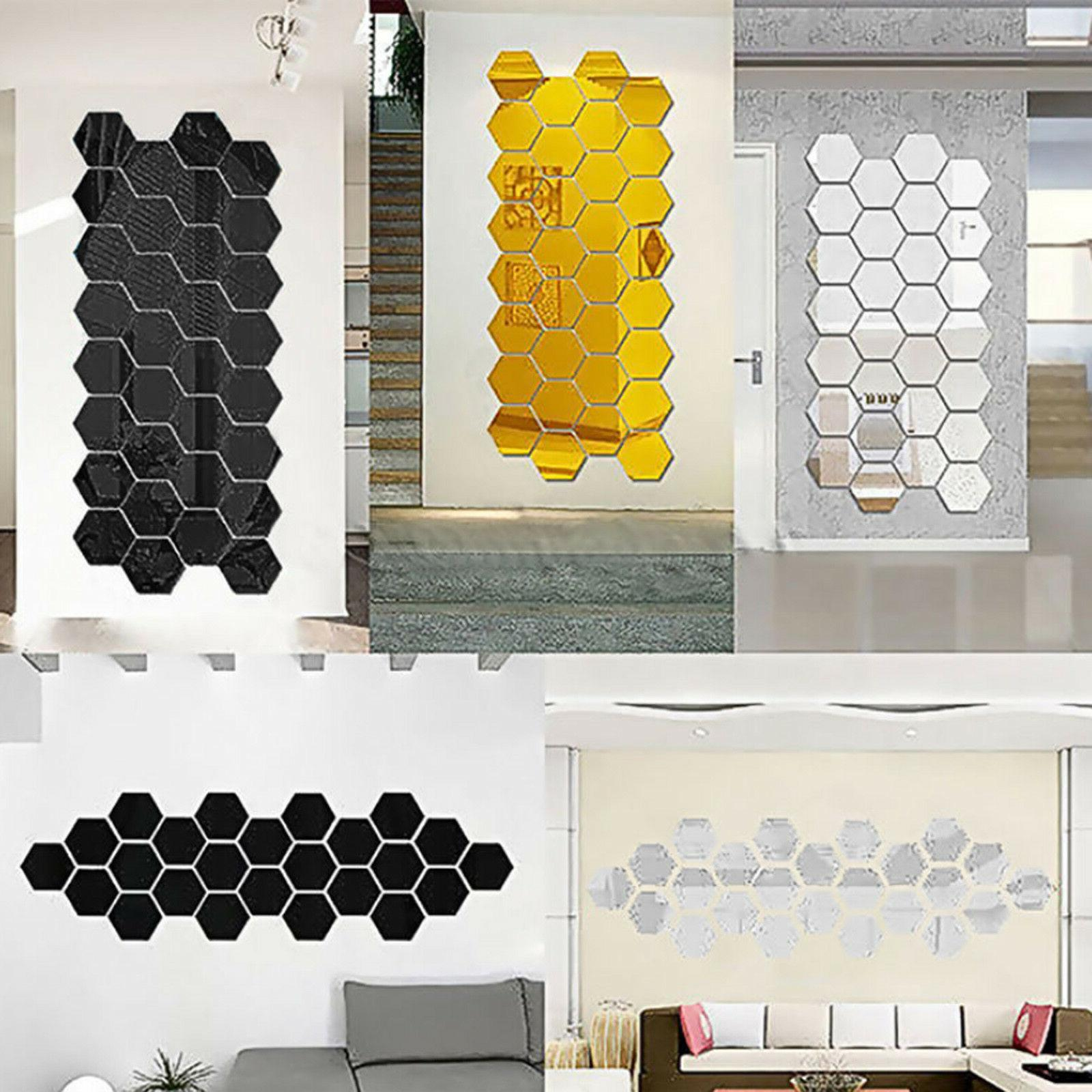 12PCS 3D DIY Mirror Hexagon Vinyl Removable Wall Sticker Dec