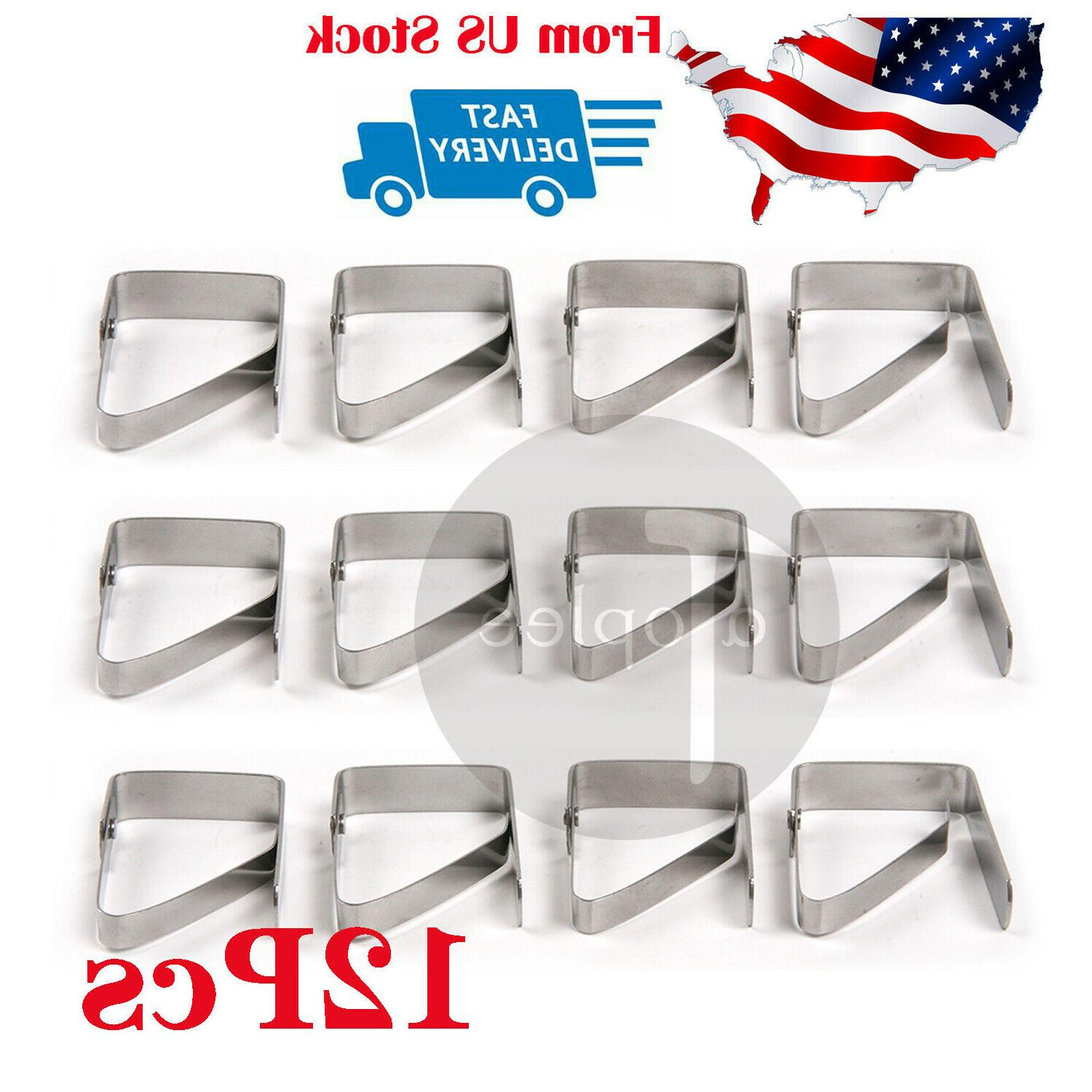 12Pcs Stainless Steel Tablecloth Table Cover Clips Holder Cl