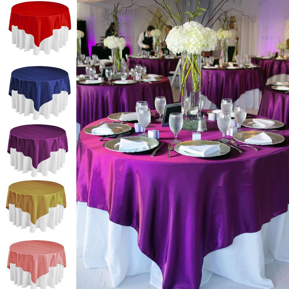 Square Satin Tablecloth Table Cover For Banquet Wedding Part
