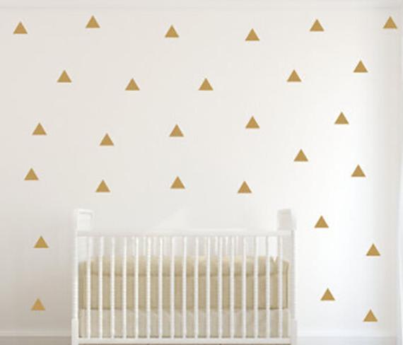 150 Polka Dots Gold Vinyl Triangle Wall Decals Circle Sticke