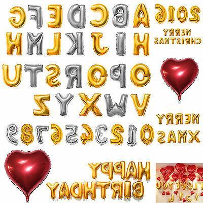 """16"""" 42"""" Foil Letter Number Heart Huge Balloons Birthday Wedd"""