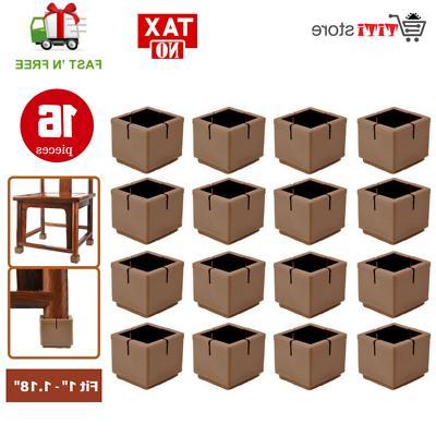 16 brown square silicone tips leg caps