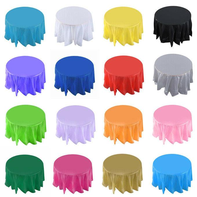 """84"""" Round Tablecloth Plastic Table Cover Heavy Duty Party We"""