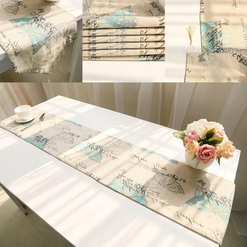 1Pc Butterfly Runners Cotton Table Cover New