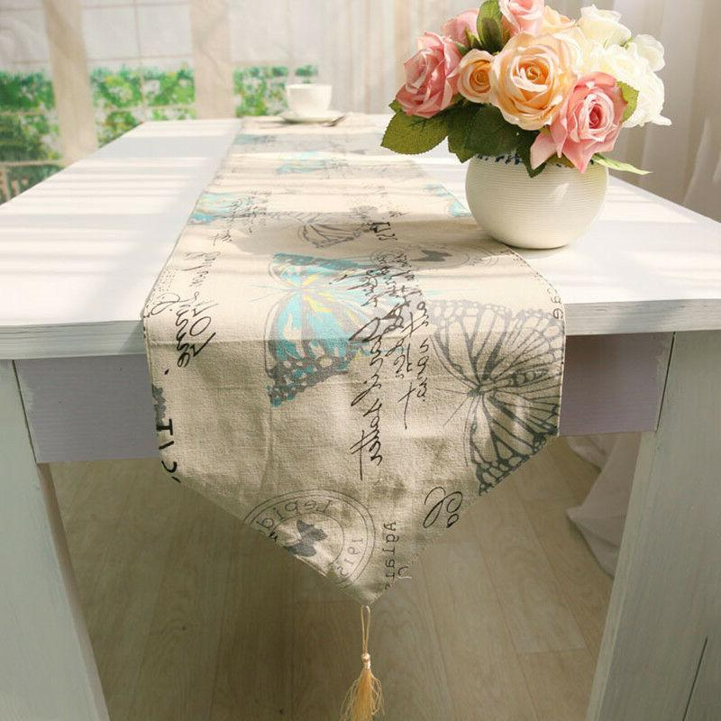 1Pc Butterfly Table Runners Cotton Linen Table