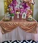 2 Piece Rose Gold cheap Sequin Tablecloth 50x50 Inch Sequin