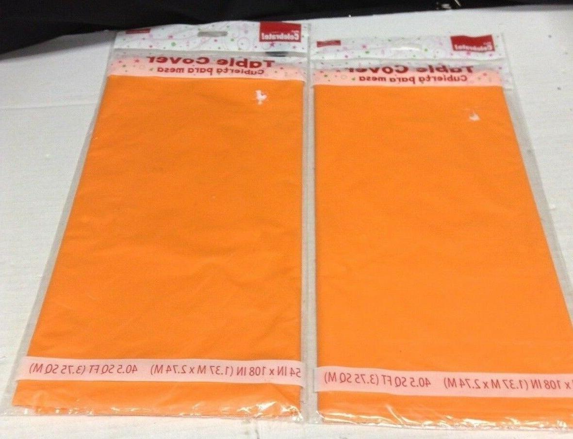 2 orange plastic kitchen table cover 54x108