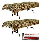 2 Pack Leopard Print Plastic Table Cover 54 inches x 108 inc