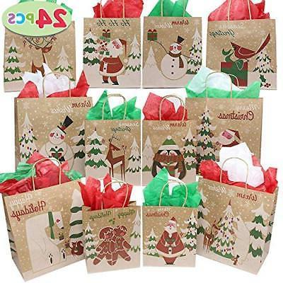 24 christmas kraft gift bags