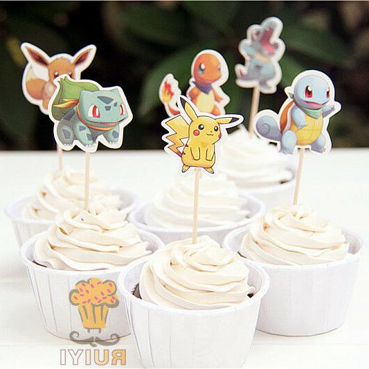 24pc CupCake Toppers Pokemon Balloons banner Birthday Party