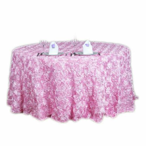 47/120'' 3D Rosette Satin Fabric Tablecloth
