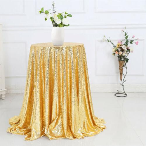 """48"""" Round Sparkly Table Cloth Cover Bling Tablecloth Decor"""
