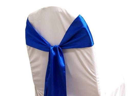 BalsaCircle 50 Blue Satin Chair Ties Wedding Ceremony Reception Decorations