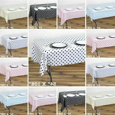 54x108 in. Polka Dots Disposable PLASTIC TABLE COVERS Tablec