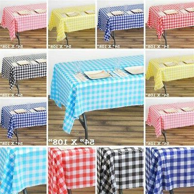 54x108 inch Checkered Disposable PLASTIC TABLE COVER Tablecl