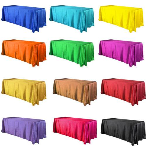 "57x126"" Satin Tablecloth Rectangle Table Cover Cloth Wedding"