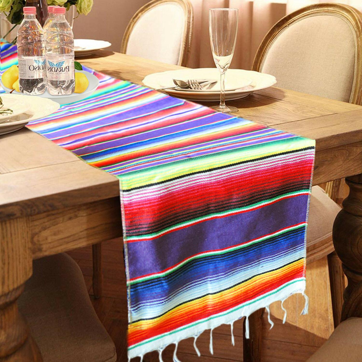 5pcs Mexican Serape Table Runner Party Fringe Cotton Cover USA