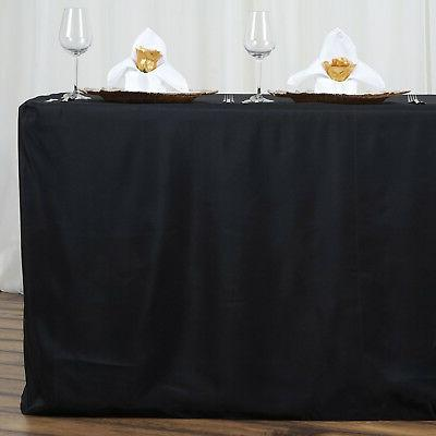 6 ft BLACK POLYESTER TABLE Tablecloths for Wedding Tradeshow