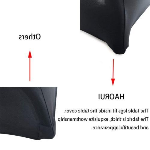 Haorui 6 ft. Black Rectangular Spandex Table Cover Open Back
