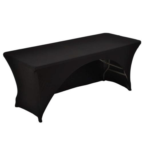 6 ft black rectangular spandex table cover