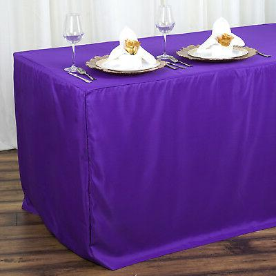 6 ft PURPLE FITTED POLYESTER TABLE COVER Wedding Party Trade