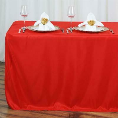 8FT Fitted RED Polyester Table Cover Commercial Grade Weddin