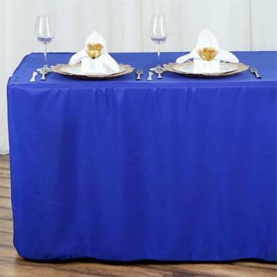 8ft fitted royal blue polyester table cover