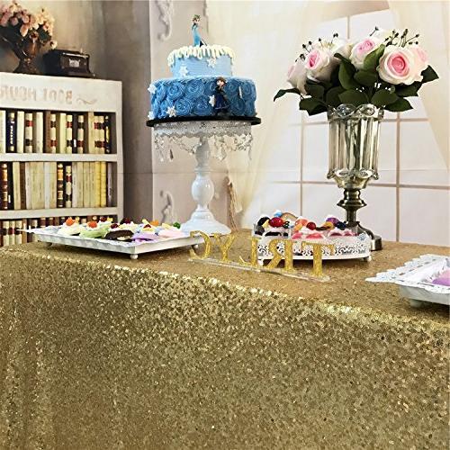 BalsaCircle Gold Tablecloth for Wedding Cake Dessert Linens