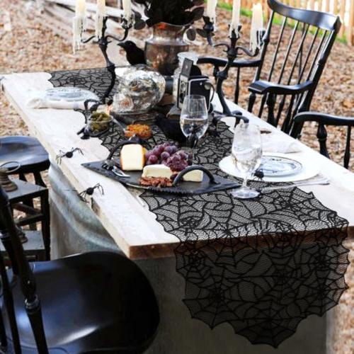 Halloween Web Table Runner Cover Party Table