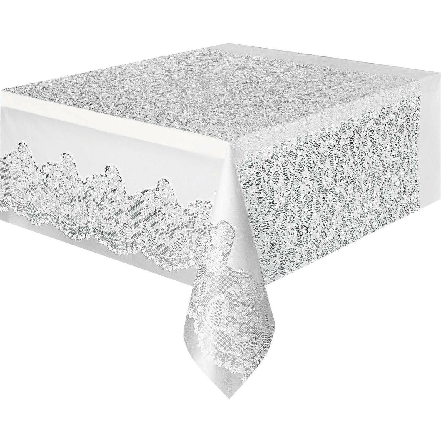 """Classic Plastic White Lace Table Cover,108"""" x 54"""", Brand N"""