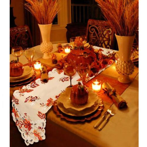 Embroidered Leaves Table Runner Thanksgiving Fall