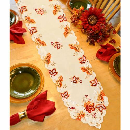 Embroidered Leaves Table Runner Cover Fall Thanksgiving