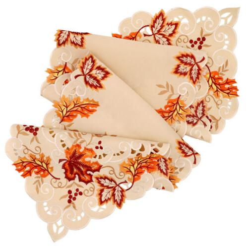 Embroidered Maple Table Runner Table Thanksgiving