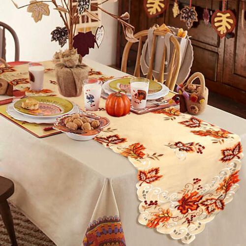 Embroidered Leaves Runner Thanksgiving