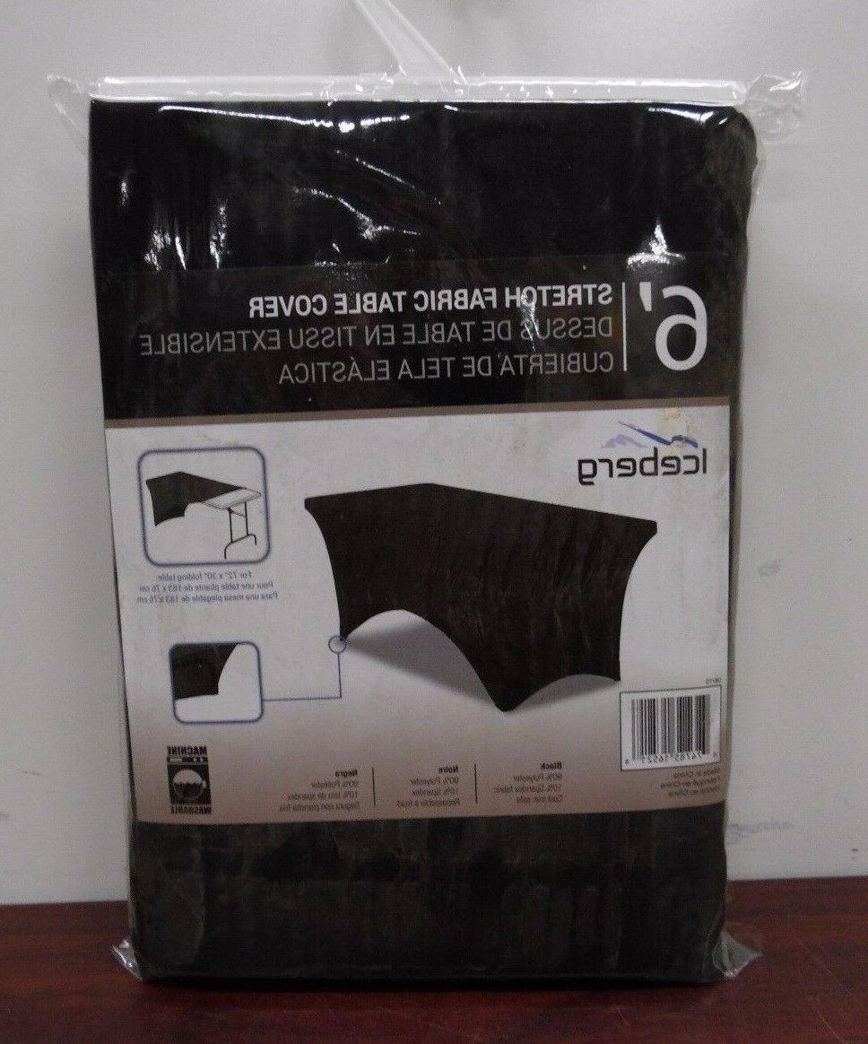 Iceberg 16521 Spandex Fabric Table Cover, 6', Black