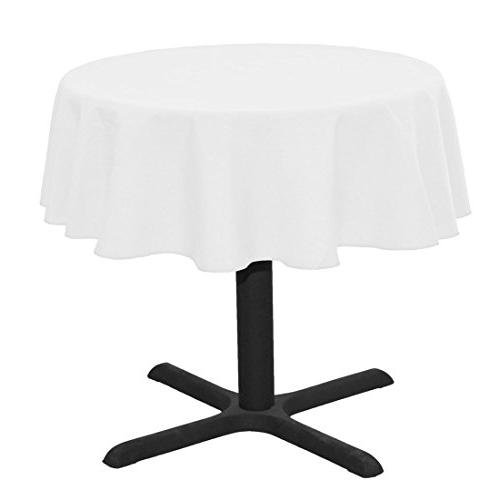 LinenTablecloth 51-Inch Round Ambassador Tablecloth White
