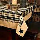 New Country Farmhouse Black & Tan Plaid Embroidered Star Tab