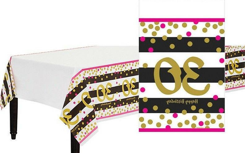 Pink and Gold 30th Birthday Table Cover ~ Milestone Thirtiet