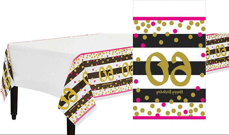 Pink and Gold 60th Birthday Table Cover ~ Milestone Sixieth