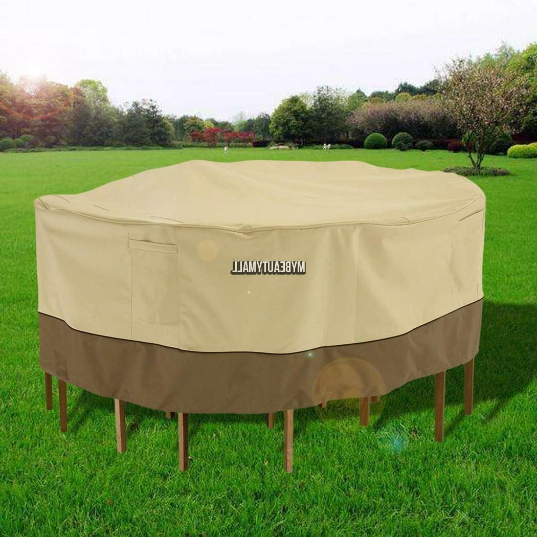 Round Patio Table and Chair Set Cover Outdoor Furniture Stor