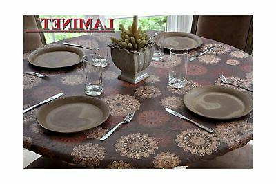Round Table Vinyl Tablecloth Elastic Fitted Cover Cloth Dini