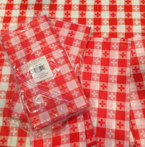 SIX  PLASTIC RED & WHITE CHECKERED TABLECLOTH PICNIC TABLE C