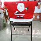 Santa Claus Red Hat Chair Seat Back Cover Christmas Kitchen